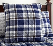 Charlie Plaid Euro Quilted Sham, Navy