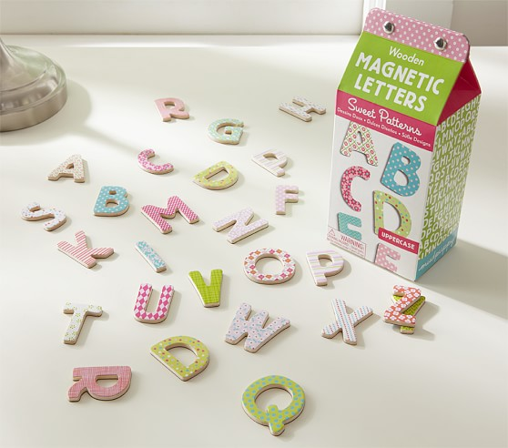 "Wooden Magnet Letters ""Sweet Patterns"", Uppercase"