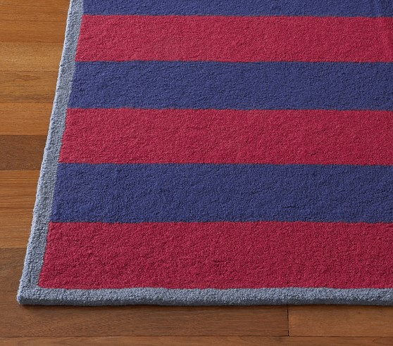 Red/Navy Rugby Stripe Rug Swatch