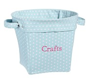 Aqua Mini Dot Medium Canvas Bucket