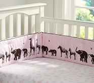 Animal Parade Crib Fitted Sheet, Pink