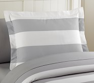 Rugby Stripe Standard Sham, Light Gray