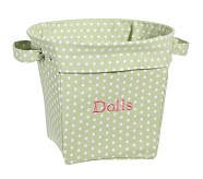 Green Mini Dot Medium Canvas Bucket