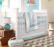 Harper Nursery Bumper Bedding Set, Crib Skirt, Crib Fitted Sheet & Bumper, Aqua