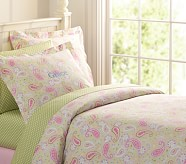 Paisley Duvet Cover, Twin, Green