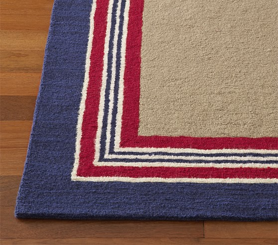 Red/Navy Tailored Stripe Rug Swatch