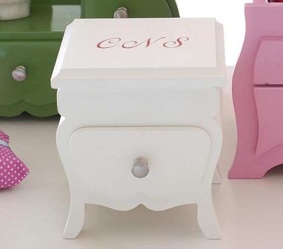 Mini Table Jewelry Box, White