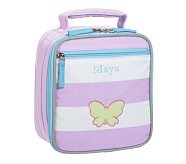 Fairfax Lavender Stripe Lunch Bag, Green Butterfly