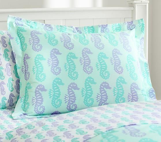 Preppy Seahorse Standard Sham, Lavender/Blue