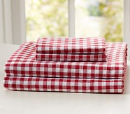 Buffalo Check Flannel Sheet Set, Twin, Red