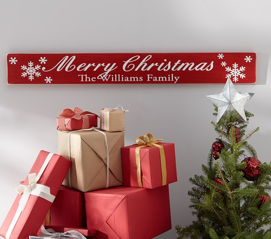 Personalized Merry Christmas Sign, Red