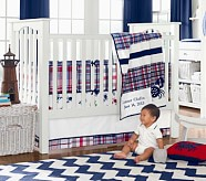 Crab Madras Nursery Quilt Bedding Set: Toddler Quilt, Crib Skirt & Crib Fitted Sheet, Red/Navy
