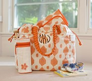 Orange Ikat Larkspur Diaper Bag
