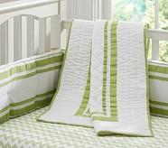 Harper Chevron Nursery Quilt Bedding Set: Crib Fitted Sheet, Toddler Quilt & Crib Skirt, Green