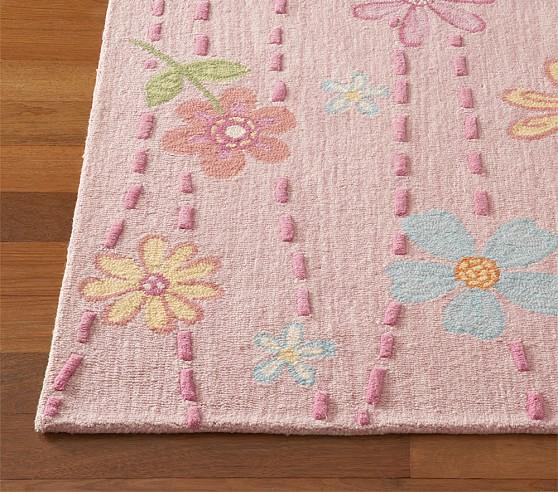 Pink Daisy Garden Rug Swatch