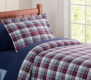Kingston Plaid Duvet Cover, Twin, Red/Navy