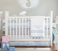 Bradley Harper Nursery Quilt Bedding Set: Toddler Quilt, Crib Skirt & Crib Fitted Sheet, Light Blue