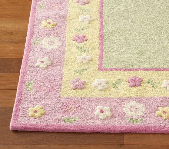 Yellow Floral Border Rug Swatch