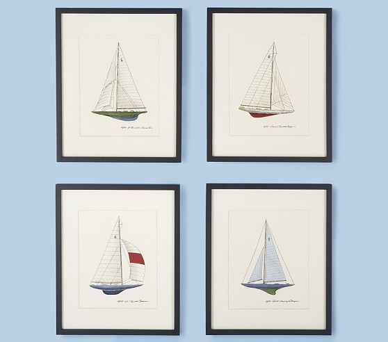J Boat Wall Art, Set of 4