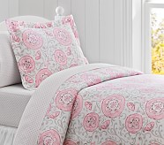Casey Suzanni Duvet Cover, Twin, Pink/Gray