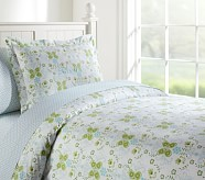 Ivy Damask Duvet Cover, Twin, Green/Aqua