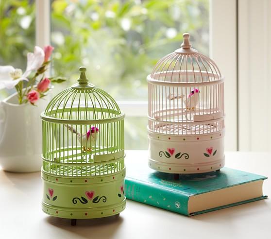 Birdcage Music Box, White