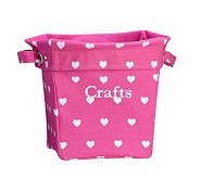Heart Medium Canvas Storage, Bright Pink