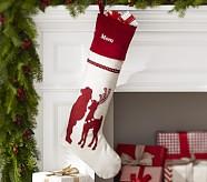 Santa Plaid & Crewel Stocking