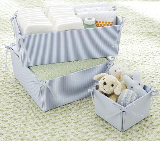 Bailey Side Tie Storage, Small Box, Blue Stripe