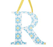 Printed Letter, R, Blue Floral