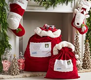 Large Letters to Santa Red Velvet Santa Bag