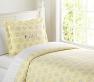 Vivian Duvet Cover, Twin, Yellow/Gray