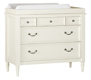 Darcy Dresser & Changing Table Topper Set, Distressed Ivory
