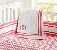 Harper Toddler Quilt, Bright Coral