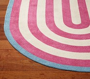 Capel Spiral Oval Rug 5x7' Bright Pink and Blue