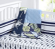 Surf Patch Nursery Bedding Set: Toddler Quilt, Crib Skirt & Crib Fitted Sheet, Bright Pink
