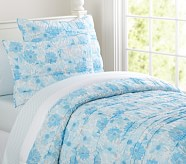 Lillian Floral Quilt, Blue, Twin
