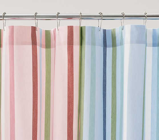 Emerson Stripe Shower Curtain, Blue