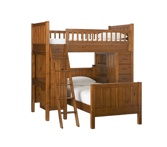 Bunk System with Twin Bed, Rustic Sun Valley Honey
