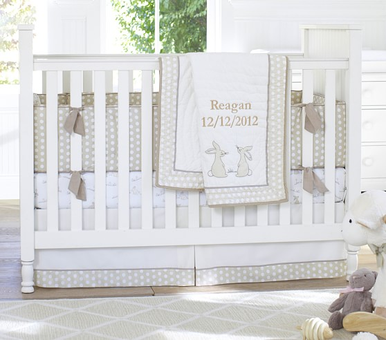 Reagan Nursery Quilt Bedding Set: Crib Fitted Sheet, Toddler Quilt & Crib Skirt