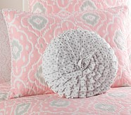 Ruffled Silver Dot Decorative Pillow, Round