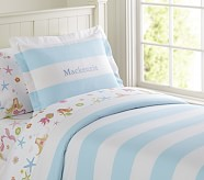 Rugby Stripe Duvet Cover, Twin, Blue