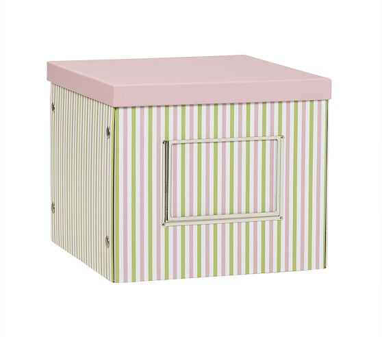 Deep Cube Box, Pink Stripe