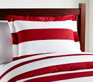 Rugby Stripe Standard Sham, Red