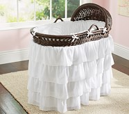 Ruffle Bassinet Nursery Bedding Set: Crib Bumper & Crib Skirt