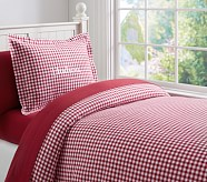 Buffalo Check Flannel Duvet Cover, Twin, Red