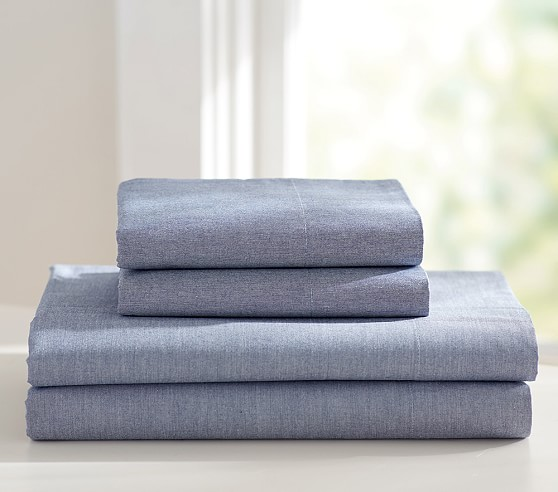 Chambray Standard Pillowcase, Navy
