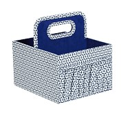 Canvas Diaper Caddy, Navy Geo
