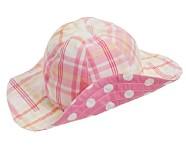 Pink Dot/Madras Sun Hat, 3-6 Months