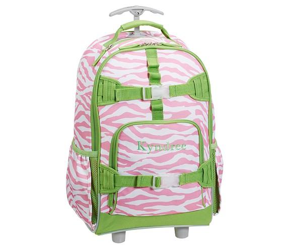 Mackenzie Pink Zebra Rolling Backpack